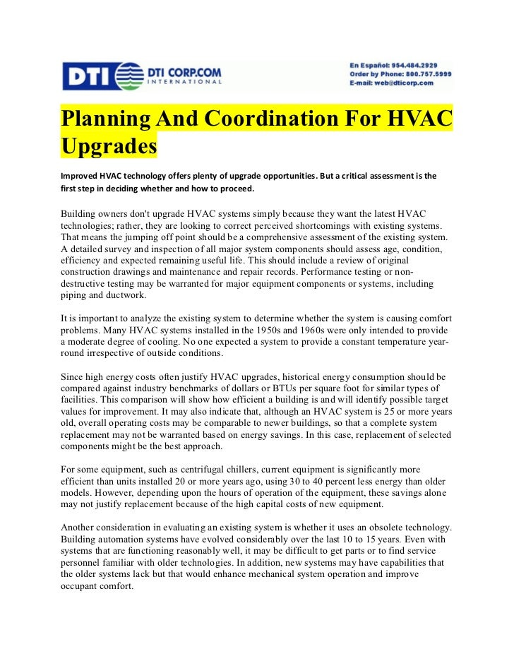 Planning And Coordination For HVAC Upgrades