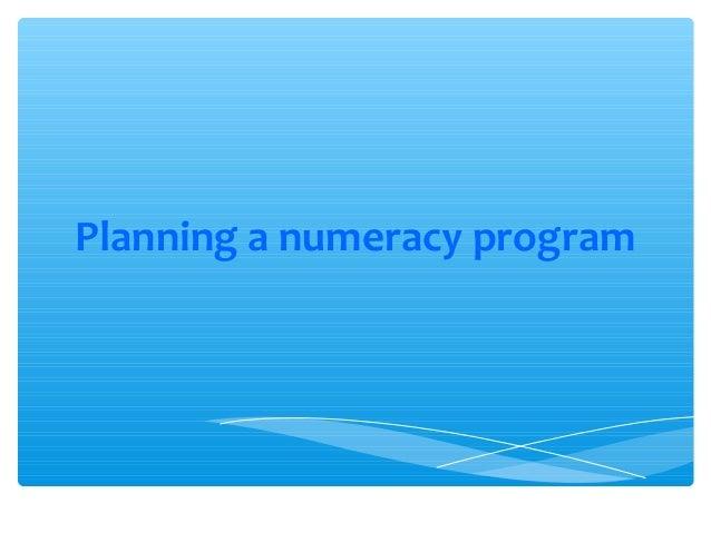 Planning a numeracy program
