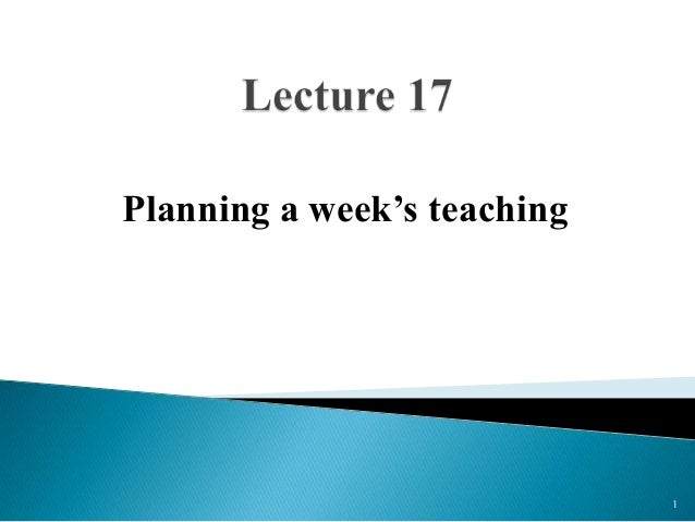 Planning a week's teaching