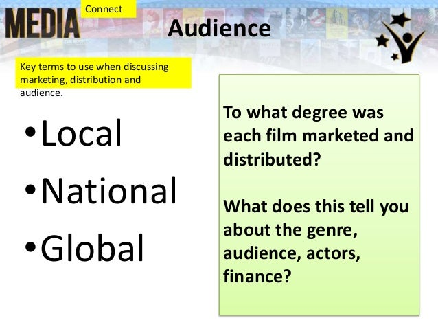 Audience •Local •National •Global Key terms to use when discussing marketing, distribution and audience. To what degree wa...