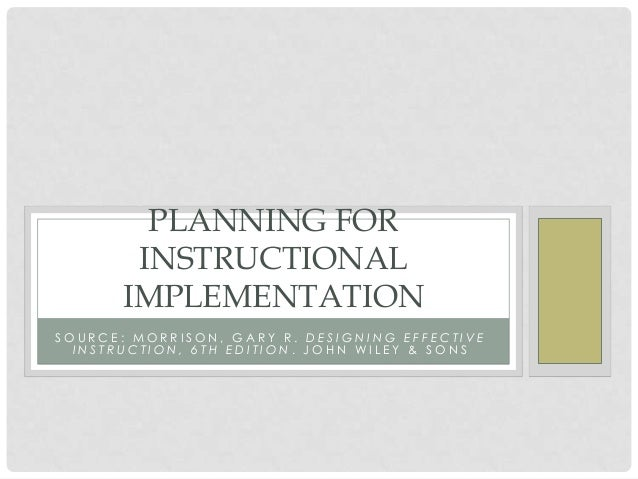 Planning for instructional implementation