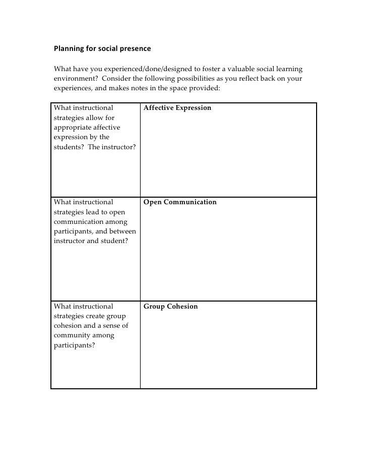 Planning For Presences Handout