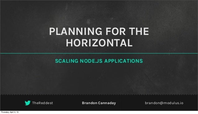 PLANNING FOR THE                                  HORIZONTAL                                     SCALING NODE.JS APPLICATI...