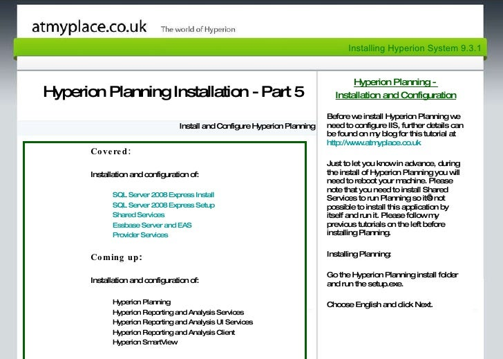 Page 1 Hyperion Planning Installation - Part 5 Install and Configure Hyperion Planning Hyperion Planning -  Installation a...