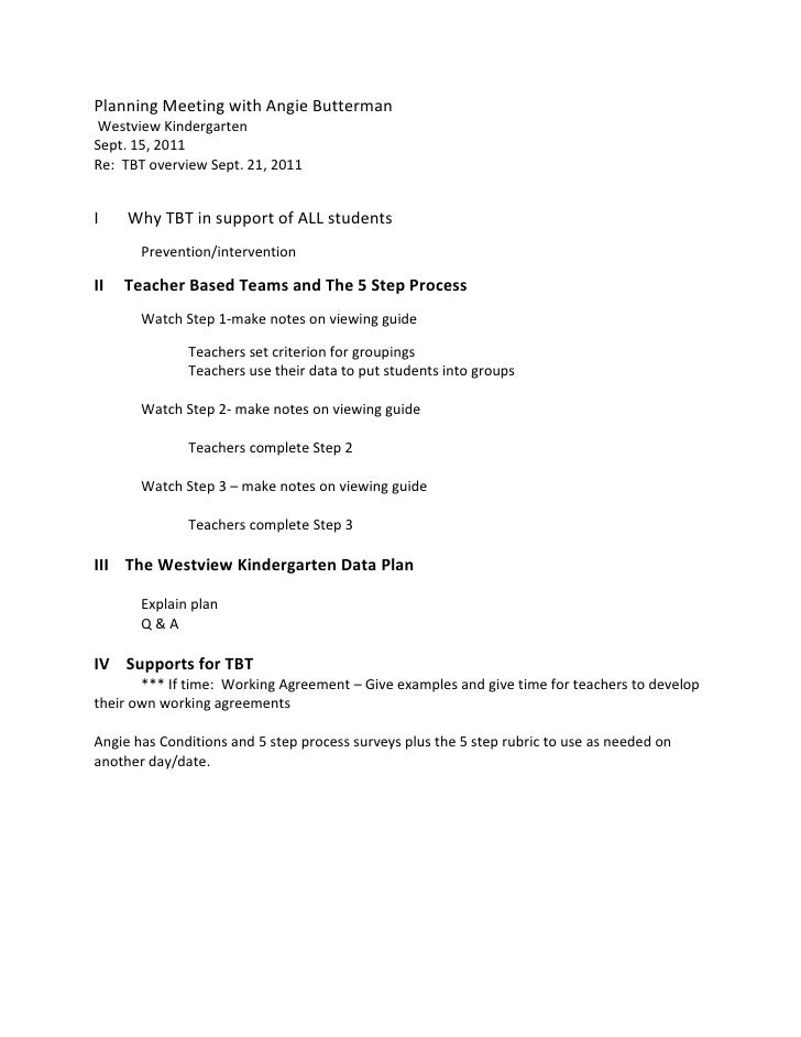 Planning Meeting with Angie Butterman Westview KindergartenSept. 15, 2011Re: TBT overview Sept. 21, 2011I    Why TBT in su...