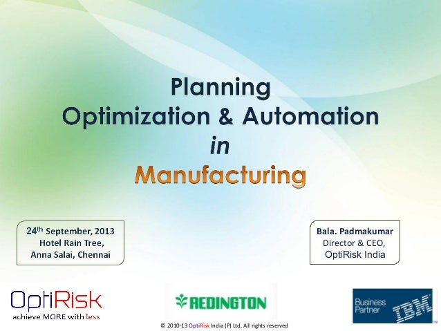 Planning Optimization and Automation in Manufacturing