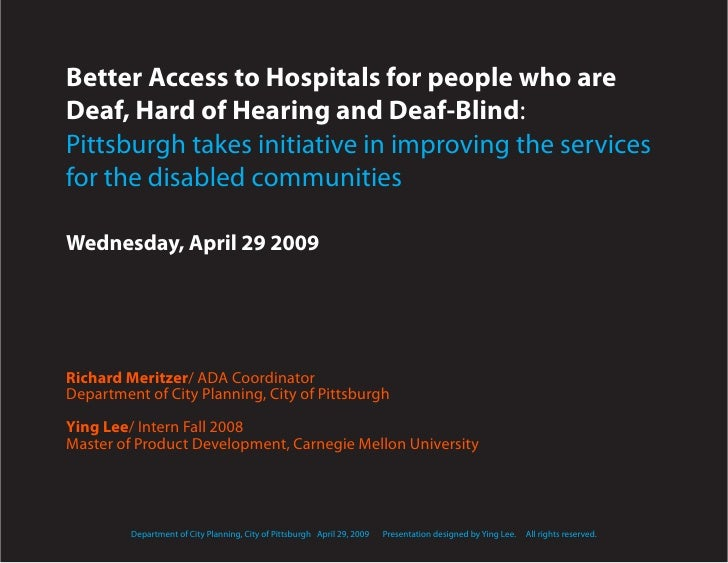Better Access to Hospitals for the Deaf, Hard of Hearing and the Deaf-Blind