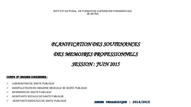 PLANIFICATION DES SOUTENANCES DES MEMOIRES PROFESSIONNELS SESSION : JUIN 2015 INSTITUT NATIONAL DE FORMATION SUPERIEURE PA...