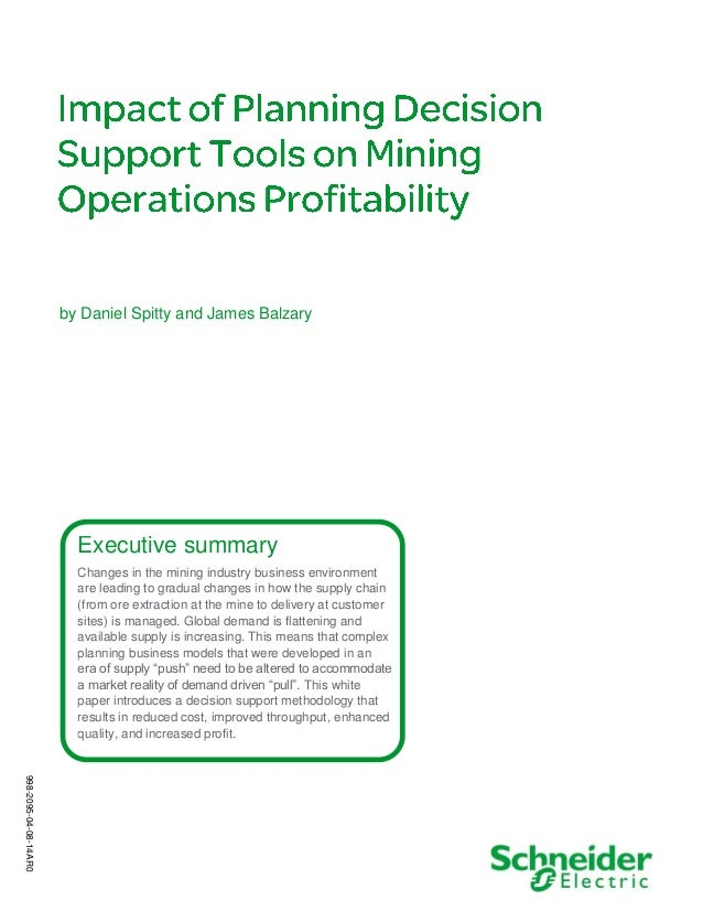 Impact of Planning Decision Support Tools on Mining Operations Profitability