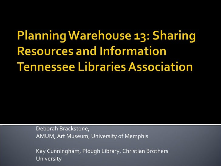 Planning Warehouse 13