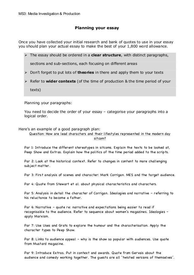 Planning your essayMS3