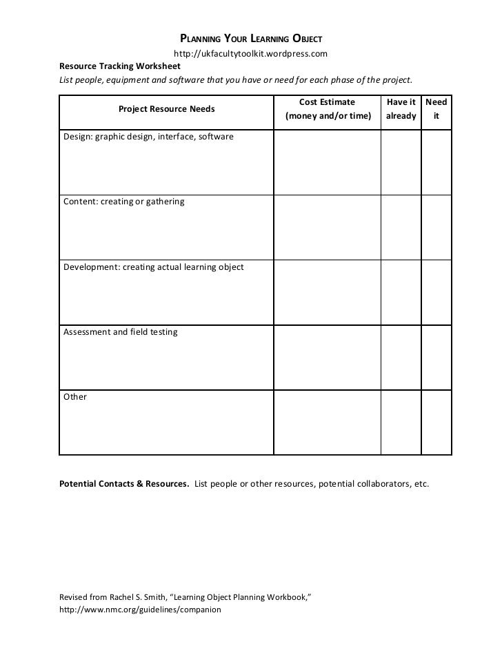 Planning Your Learning Object Resources