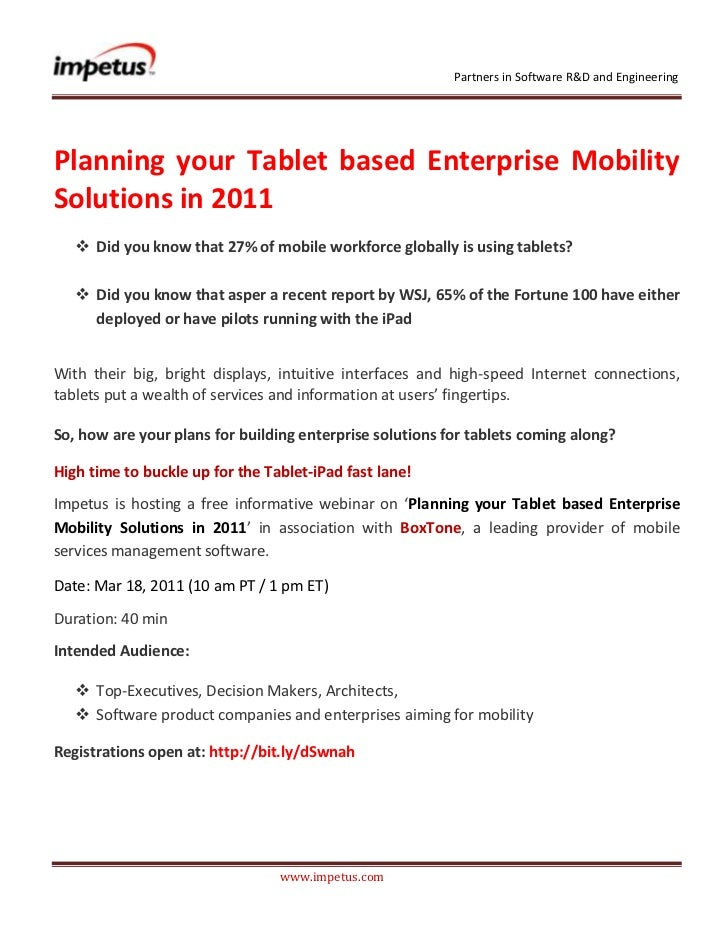 Planning your Tablet based Enterprise Mobility Solutions in 2011