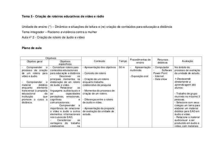 Tema 5 - Criação de roteiros educativos de vídeo e rádio   Unidade de ensino (*) – Dinâmico e situações de leitura e (re) ...