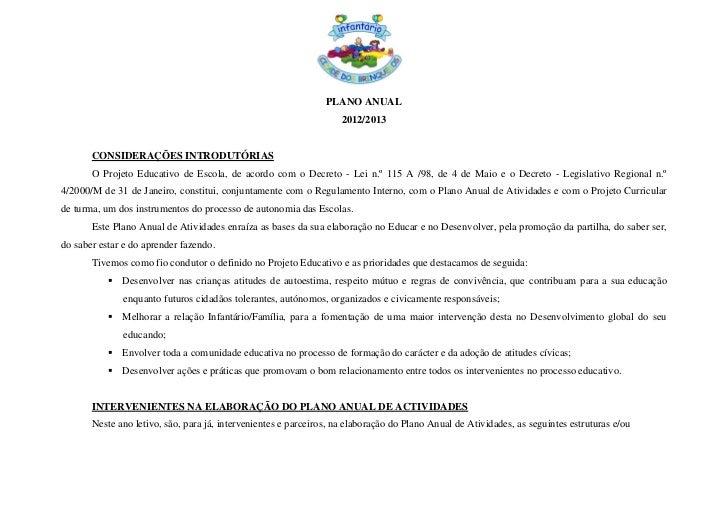 PLANO ANUAL                                                                    2012/2013       CONSIDERAÇÕES INTRODUTÓRIAS...
