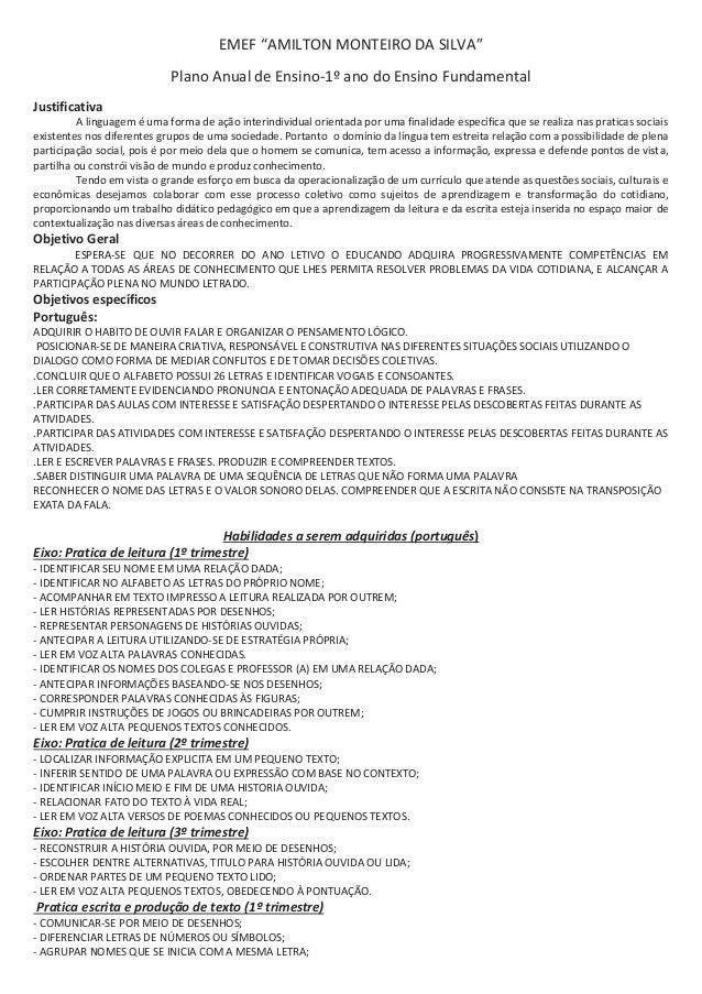 """EMEF """"AMILTON MONTEIRO DA SILVA"""" Plano Anual de Ensino-1º ano do Ensino Fundamental Justificativa A linguagem é uma forma ..."""