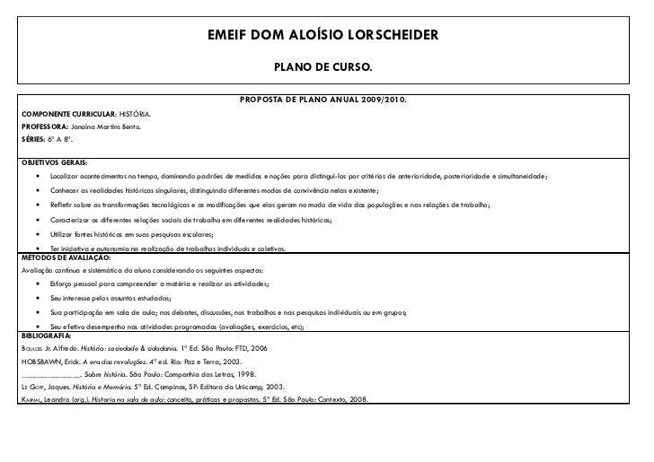 EMEIF DOM ALOÍSIO LORSCHEIDER                                                                                    PLANO DE ...