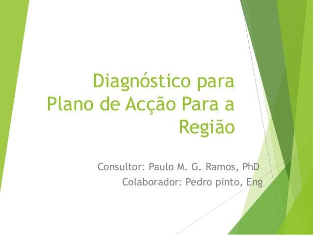 Diagnóstico para Plano de Acção Para a Região Consultor: Paulo M. G. Ramos, PhD Colaborador: Pedro pinto, Eng