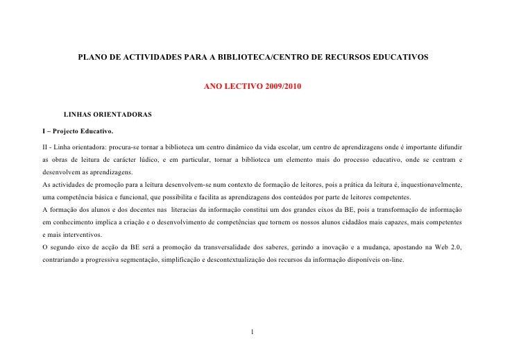 PLANO DE ACTIVIDADES PARA A BIBLIOTECA/CENTRO DE RECURSOS EDUCATIVOS                                                      ...
