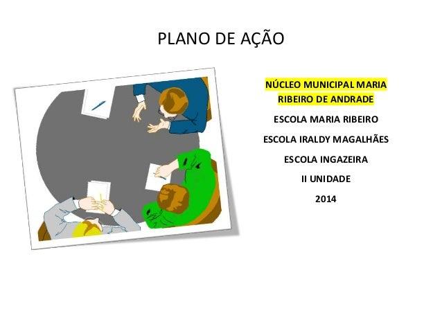 PLANO DE AÇÃO  NÚCLEO MUNICIPAL MARIA  RIBEIRO DE ANDRADE  ESCOLA MARIA RIBEIRO  ESCOLA IRALDY MAGALHÃES  ESCOLA INGAZEIRA...