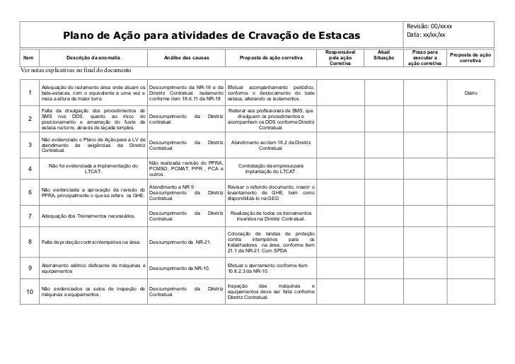 Revisão: 00/xxxx                 Plano de Ação para atividades de Cravação de Estacas                                     ...