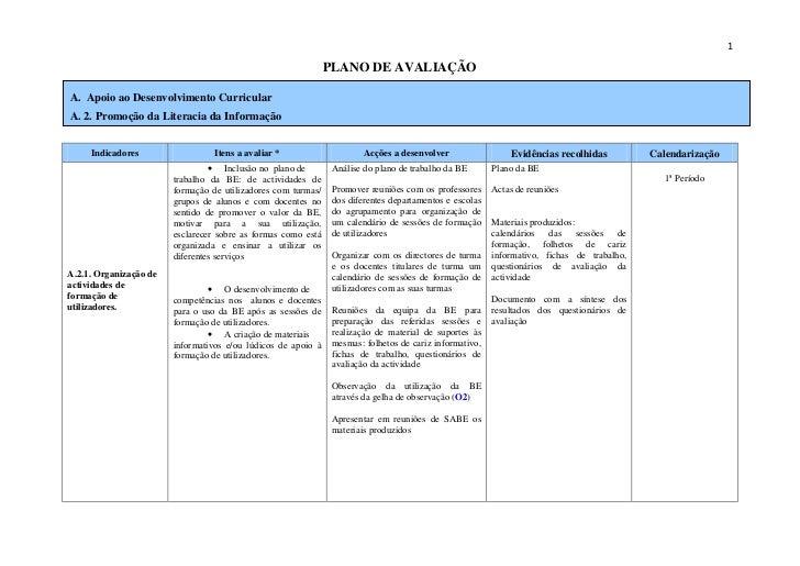 1                                                                 PLANO DE AVALIAÇÃO  A. Apoio ao Desenvolvimento Curricul...