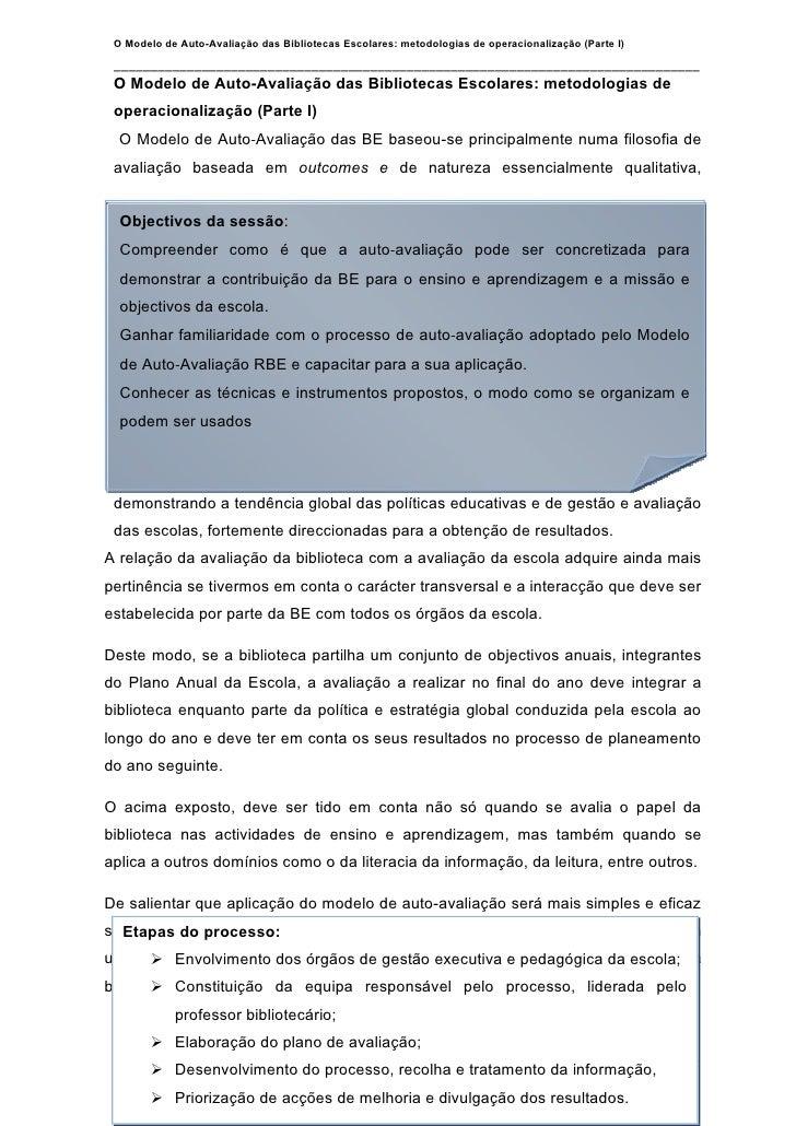 O Modelo de Auto-Avaliação das Bibliotecas Escolares: metodologias de operacionalização (Parte I)   ______________________...