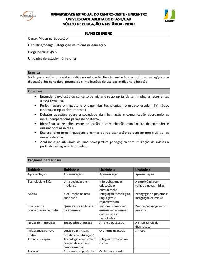 UNIVERSIDADE ESTADUAL DO CENTRO-OESTE - UNICENTROUNIVERSIDADE ABERTA DO BRASIL/UABNÚCLEO DE EDUCAÇÃO A DISTÂNCIA - NEADPLA...