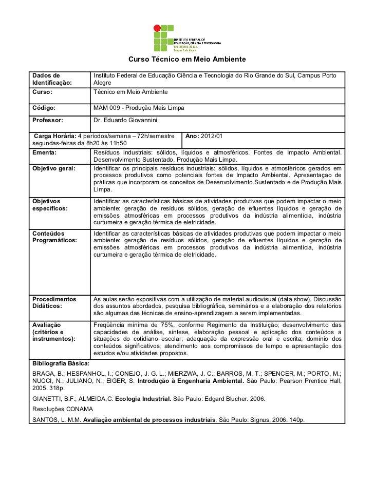 Curso Técnico em Meio AmbienteDados de               Instituto Federal de Educação Ciência e Tecnologia do Rio Grande do S...