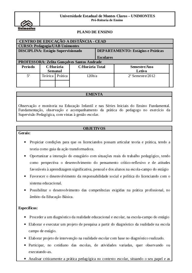 Universidade Estadual de Montes Claros – UNIMONTES                                             Pró-Reitoria de Ensino     ...