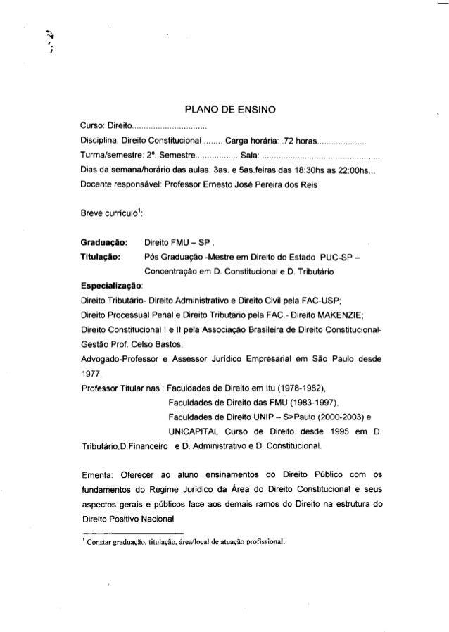 PLANO DE ENSINOCurso: DireitoDisciplina: Direito Constitucional             Carga horária: .72 horas                      ...