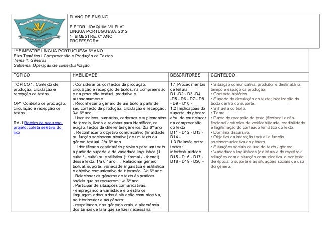 Plano de ensino portugues fundamental
