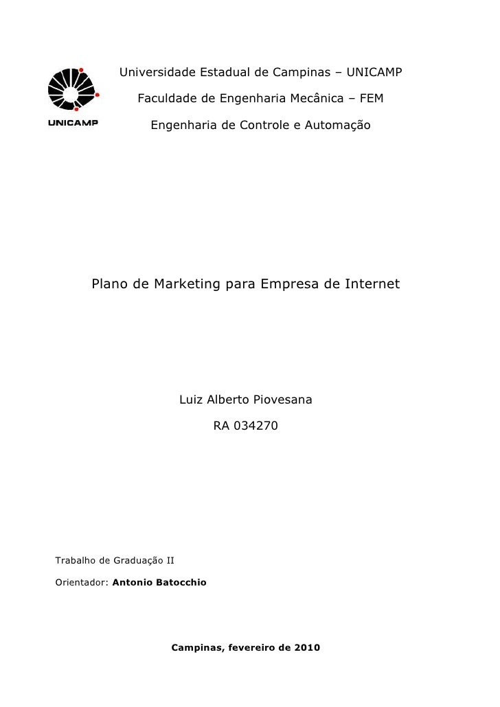 Plano De Marketing Para Empresa De Internet   Tg Ii   Luiz Alberto Piovesana   034270