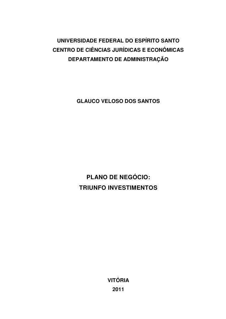 Plano de negocios investimento