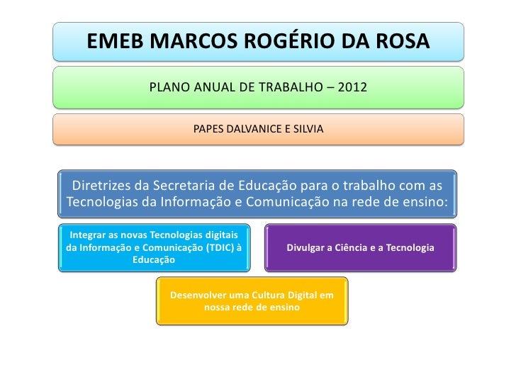 EMEB MARCOS ROGÉRIO DA ROSA                  PLANO ANUAL DE TRABALHO – 2012                            PAPES DALVANICE E S...