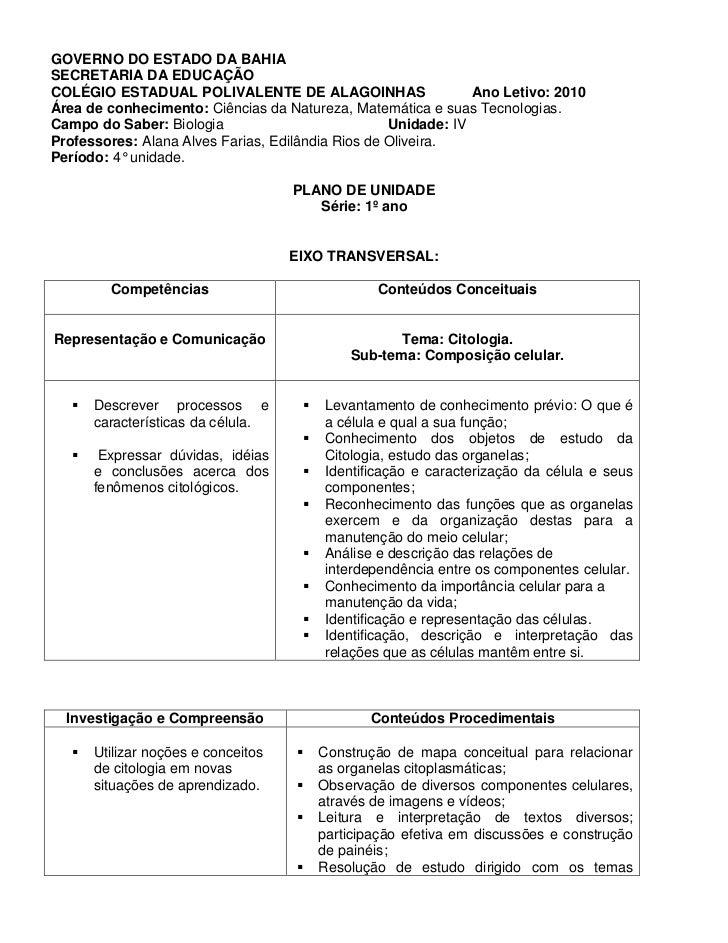 GOVERNO DO ESTADO DA BAHIASECRETARIA DA EDUCAÇÃOCOLÉGIO ESTADUAL POLIVALENTE DE ALAGOINHAS                     Ano Letivo:...