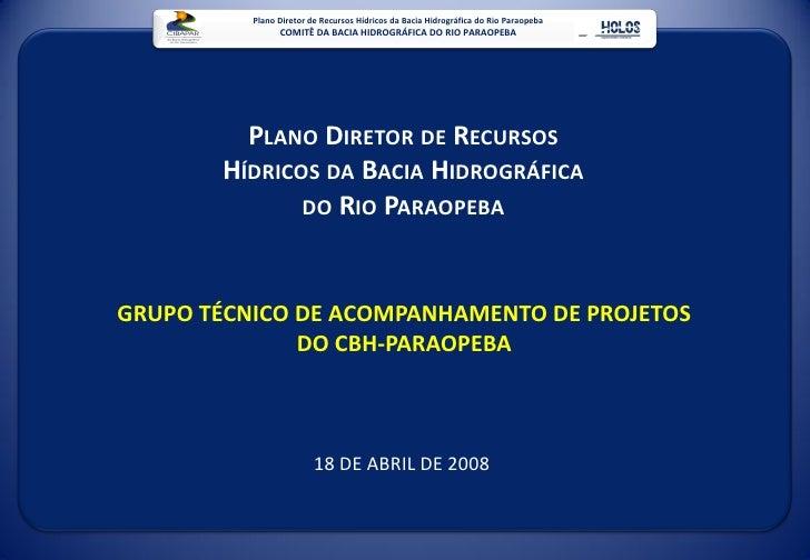 Plano Diretor de Recursos Hídricos da Bacia Hidrográfica do Rio Paraopeba                 COMITÊ DA BACIA HIDROGRÁFICA DO ...
