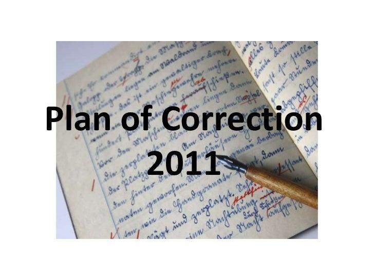 Plan of Correction 2011