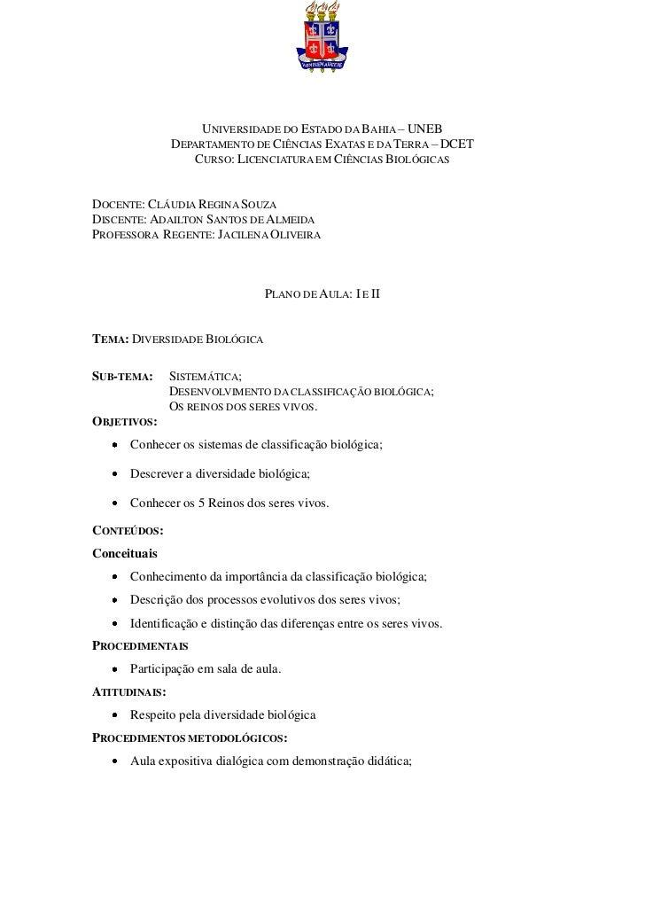 UNIVERSIDADE DO ESTADO DA BAHIA – UNEB               DEPARTAMENTO DE CIÊNCIAS EXATAS E DA TERRA – DCET                  CU...