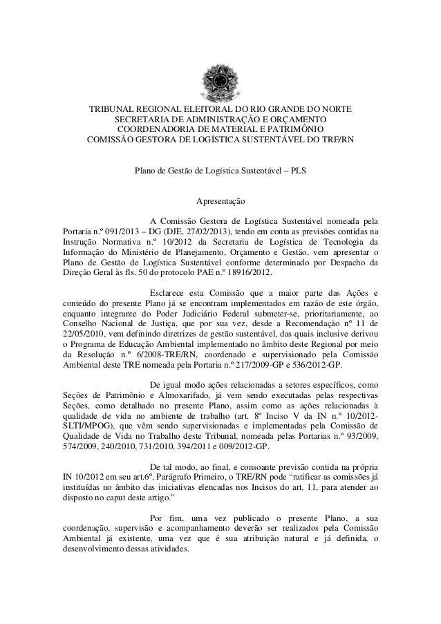 TRIBUNAL REGIONAL ELEITORAL DO RIO GRANDE DO NORTE  SECRETARIA DE ADMINISTRAÇÃO E ORÇAMENTO  COORDENADORIA DE MATERIAL E P...