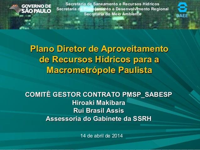 Plano Macro Metrópole do Comitê Gestor Águas PMSP e SABESP