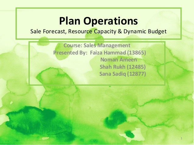 Plan Operations  Sale Forecast, Resource Capacity & Dynamic Budget Course: Sales Management Presented By: Faiza Hammad (13...
