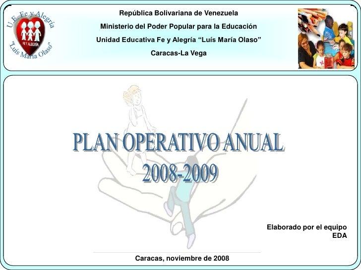 República Bolivariana de Venezuela <br />Ministerio del Poder Popular para la Educación<br />Unidad Educativa Fe y Alegría...