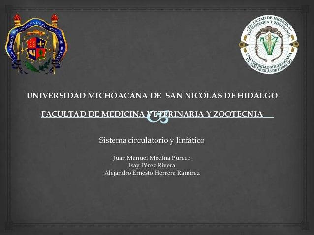 UNIVERSIDAD MICHOACANA DE SAN NICOLAS DE HIDALGO FACULTAD DE MEDICINA VETERINARIA Y ZOOTECNIA Sistema circulatorio y linfá...