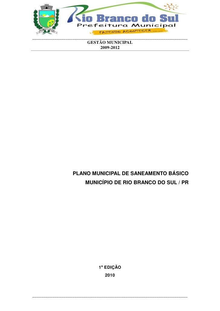 Plano saneamento Rio Branco do Sul