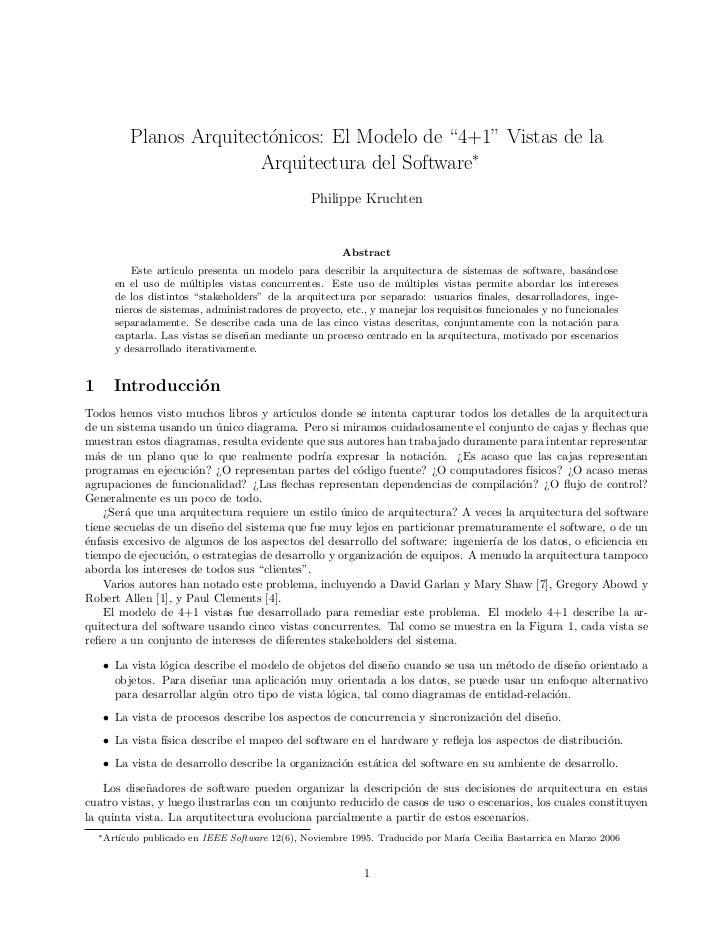 "Planos Arquitect´nicos: El Modelo de ""4+1"" Vistas de la                           o                          Arquitectura ..."