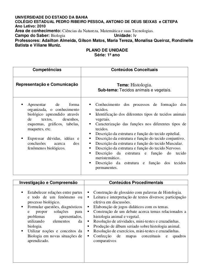 UNIVERSIDADE DO ESTADO DA BAHIACOLÉGIO ESTADUAL PEDRO RIBEIRO PESSOA, ANTONIO DE DEUS SEIXAS e CETEPAAno Letivo: 2010Área ...