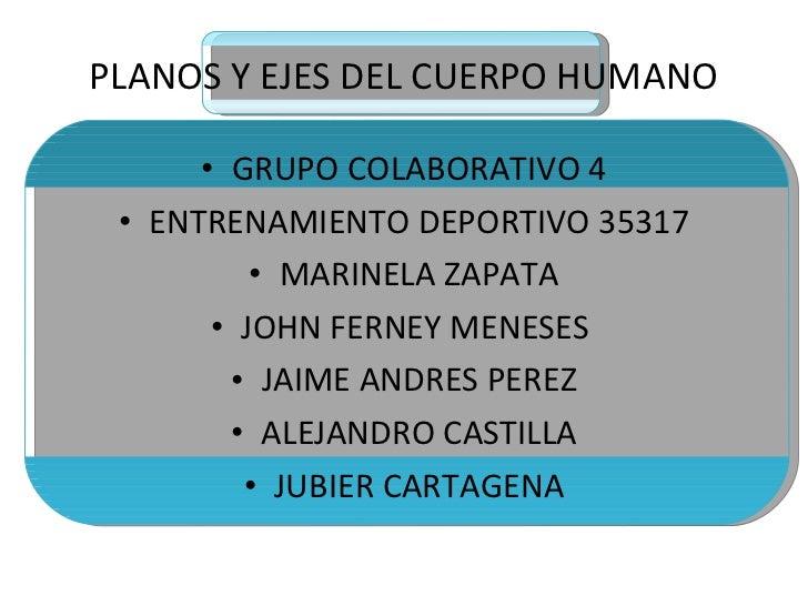 PLANOS Y EJES DEL CUERPO HUMANO <ul><li>GRUPO COLABORATIVO 4 </li></ul><ul><li>ENTRENAMIENTO DEPORTIVO 35317 </li></ul><ul...