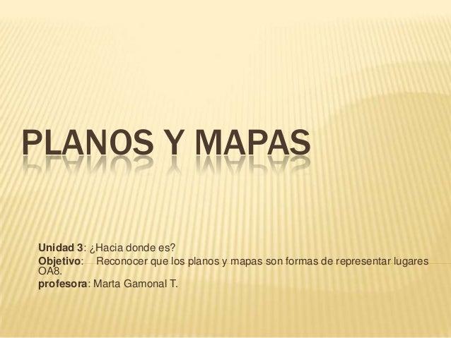 PLANOS Y MAPAS Unidad 3: ¿Hacia donde es? Objetivo: Reconocer que los planos y mapas son formas de representar lugares OA8...