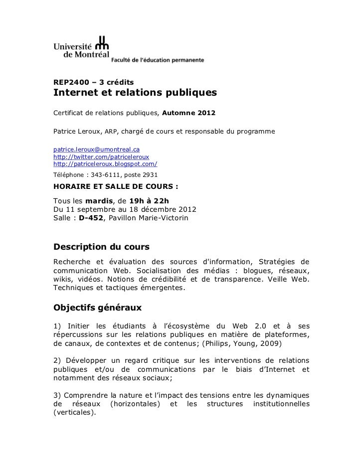 REP2400 – 3 créditsInternet et relations publiquesCertificat de relations publiques, Automne 2012Patrice Leroux, ARP, char...